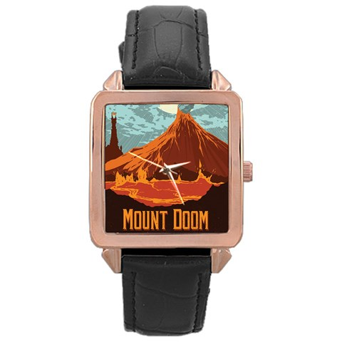 Mount Doom By Jen L   Rose Gold Leather Watch    Eg30sksux5ff   Www Artscow Com Front