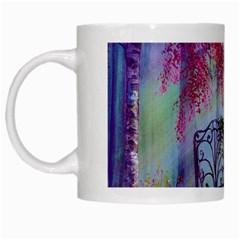 Bench In Spring Forest White Mugs by Amaryn4rt