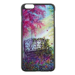 Bench In Spring Forest Apple Iphone 6 Plus/6s Plus Black Enamel Case by Amaryn4rt