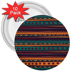 Ethnic Style Tribal Patterns Graphics Vector 3  Buttons (10 Pack)  by Amaryn4rt