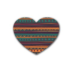Ethnic Style Tribal Patterns Graphics Vector Rubber Coaster (heart)  by Amaryn4rt