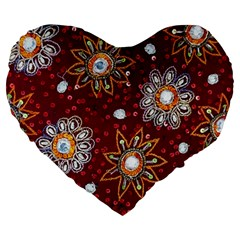 India Traditional Fabric Large 19  Premium Flano Heart Shape Cushions by Amaryn4rt