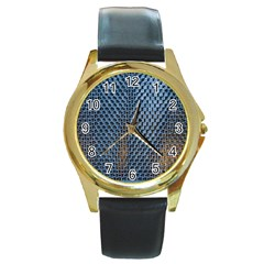 Parametric Wall Pattern Round Gold Metal Watch by Amaryn4rt
