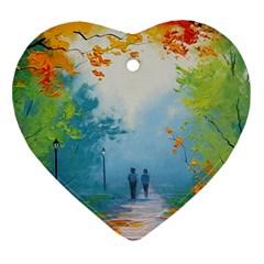 Park Nature Painting Ornament (heart)
