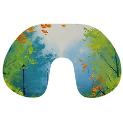 Park Nature Painting Travel Neck Pillows by Amaryn4rt