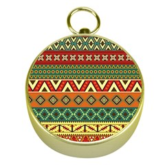 Mexican Folk Art Patterns Gold Compasses by Amaryn4rt