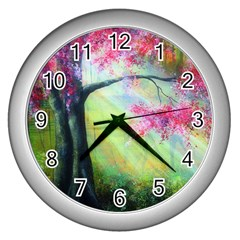 Forests Stunning Glimmer Paintings Sunlight Blooms Plants Love Seasons Traditional Art Flowers Sunsh Wall Clocks (Silver)  by Amaryn4rt