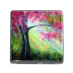 Forests Stunning Glimmer Paintings Sunlight Blooms Plants Love Seasons Traditional Art Flowers Sunsh Memory Card Reader (square) by Amaryn4rt