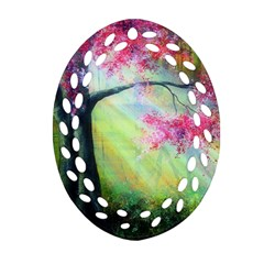 Forests Stunning Glimmer Paintings Sunlight Blooms Plants Love Seasons Traditional Art Flowers Sunsh Ornament (oval Filigree) by Amaryn4rt
