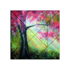 Forests Stunning Glimmer Paintings Sunlight Blooms Plants Love Seasons Traditional Art Flowers Sunsh Acrylic Tangram Puzzle (4  X 4 ) by Amaryn4rt