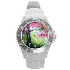 Forests Stunning Glimmer Paintings Sunlight Blooms Plants Love Seasons Traditional Art Flowers Sunsh Round Plastic Sport Watch (l) by Amaryn4rt