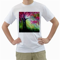 Forests Stunning Glimmer Paintings Sunlight Blooms Plants Love Seasons Traditional Art Flowers Sunsh Men s T Shirt (white)  by Amaryn4rt