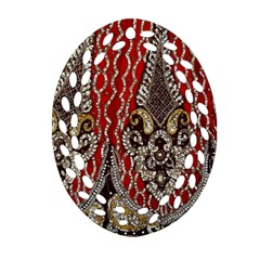 Indian Traditional Art Pattern Oval Filigree Ornament (two Sides) by Amaryn4rt