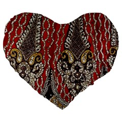 Indian Traditional Art Pattern Large 19  Premium Heart Shape Cushions by Amaryn4rt