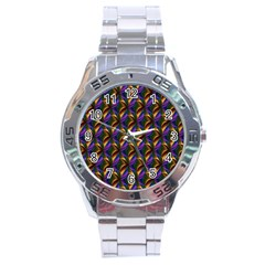 Seamless Prismatic Line Art Pattern Stainless Steel Analogue Watch by Amaryn4rt