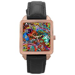 Vector Art Pattern Rose Gold Leather Watch  by Amaryn4rt