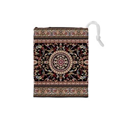 Vectorized Traditional Rug Style Of Traditional Patterns Drawstring Pouches (small)  by Amaryn4rt