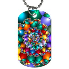 Rainbow Spiral Beads Dog Tag (one Side) by WolfepawFractals