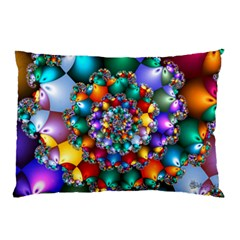 Rainbow Spiral Beads Pillow Case by WolfepawFractals