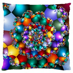 Rainbow Spiral Beads Large Cushion Case (one Side) by WolfepawFractals