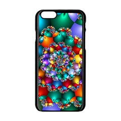 Rainbow Spiral Beads Apple Iphone 6/6s Black Enamel Case by WolfepawFractals