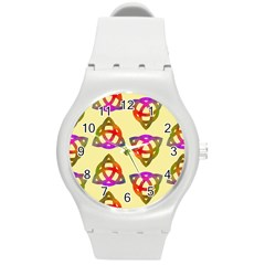 Celtic Knot Pastel Large Round Plastic Sport Watch (m) by CannyMittsDesigns