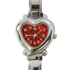 3d Metal Pattern On Wood Heart Italian Charm Watch by Amaryn4rt