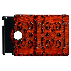 3d Metal Pattern On Wood Apple Ipad 2 Flip 360 Case by Amaryn4rt