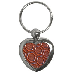 3d Abstract Patterns Hexagons Honeycomb Key Chains (heart)  by Amaryn4rt