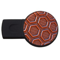 3d Abstract Patterns Hexagons Honeycomb Usb Flash Drive Round (4 Gb) by Amaryn4rt