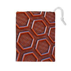 3d Abstract Patterns Hexagons Honeycomb Drawstring Pouches (large)  by Amaryn4rt