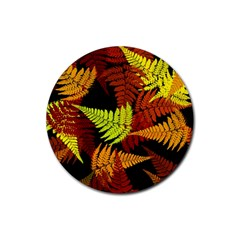 3d Red Abstract Fern Leaf Pattern Rubber Round Coaster (4 Pack)  by Amaryn4rt