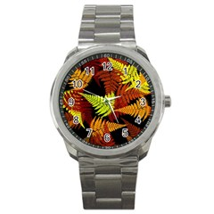 3d Red Abstract Fern Leaf Pattern Sport Metal Watch by Amaryn4rt