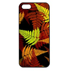 3d Red Abstract Fern Leaf Pattern Apple Iphone 5 Seamless Case (black) by Amaryn4rt