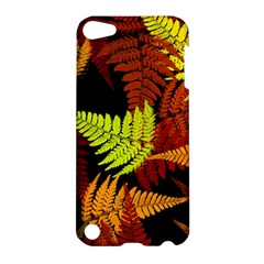 3d Red Abstract Fern Leaf Pattern Apple Ipod Touch 5 Hardshell Case by Amaryn4rt