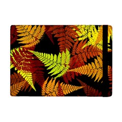 3d Red Abstract Fern Leaf Pattern Apple Ipad Mini Flip Case by Amaryn4rt