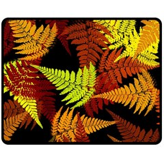 3d Red Abstract Fern Leaf Pattern Double Sided Fleece Blanket (medium)  by Amaryn4rt