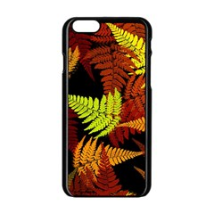 3d Red Abstract Fern Leaf Pattern Apple Iphone 6/6s Black Enamel Case by Amaryn4rt