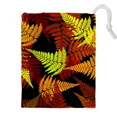 3d Red Abstract Fern Leaf Pattern Drawstring Pouches (xxl) by Amaryn4rt