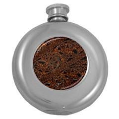Art Traditional Indonesian Batik Pattern Round Hip Flask (5 Oz) by Amaryn4rt