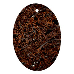 Art Traditional Indonesian Batik Pattern Oval Ornament (Two Sides)