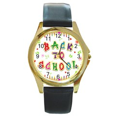 Back To School Round Gold Metal Watch by Amaryn4rt