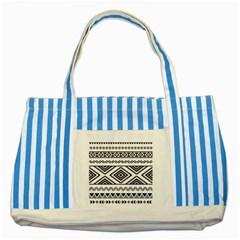 Aztec Pattern Striped Blue Tote Bag