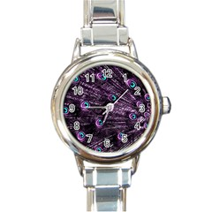 Bird Color Purple Passion Peacock Beautiful Round Italian Charm Watch by Amaryn4rt