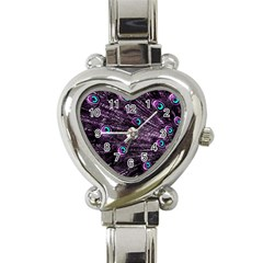 Bird Color Purple Passion Peacock Beautiful Heart Italian Charm Watch by Amaryn4rt