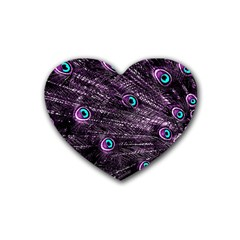 Bird Color Purple Passion Peacock Beautiful Rubber Coaster (heart)  by Amaryn4rt