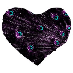 Bird Color Purple Passion Peacock Beautiful Large 19  Premium Heart Shape Cushions by Amaryn4rt