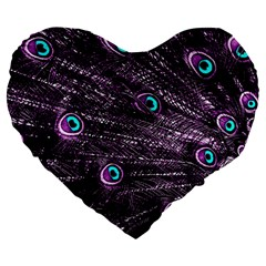 Bird Color Purple Passion Peacock Beautiful Large 19  Premium Flano Heart Shape Cushions by Amaryn4rt