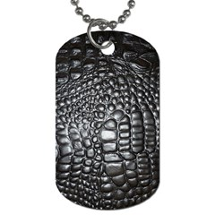 Black Alligator Leather Dog Tag (two Sides)