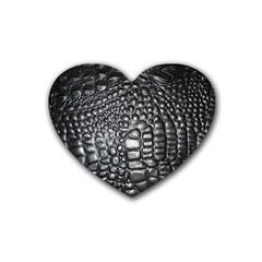 Black Alligator Leather Heart Coaster (4 Pack)  by Amaryn4rt